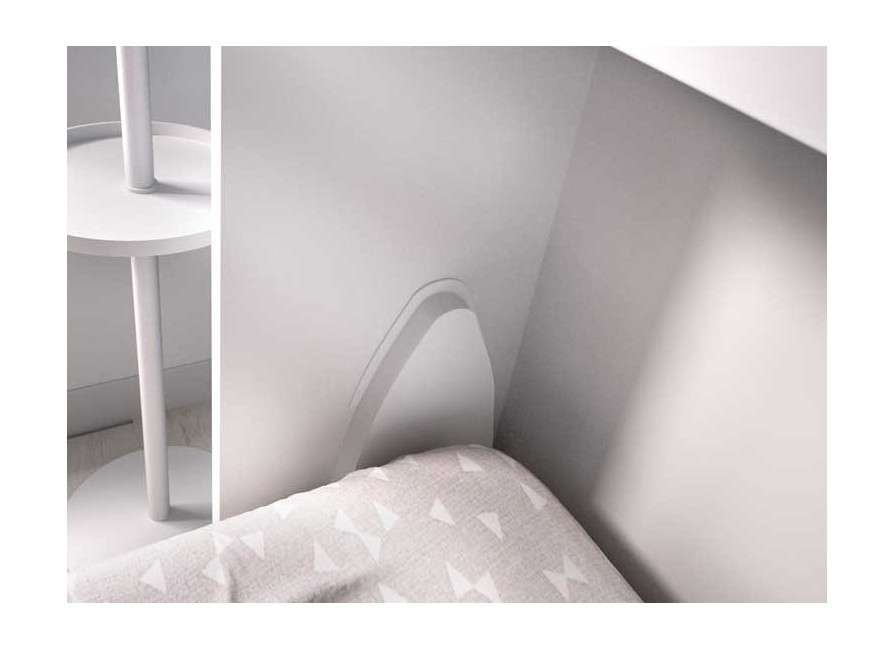 Habitación con cama abatible individual y escritorio integrado