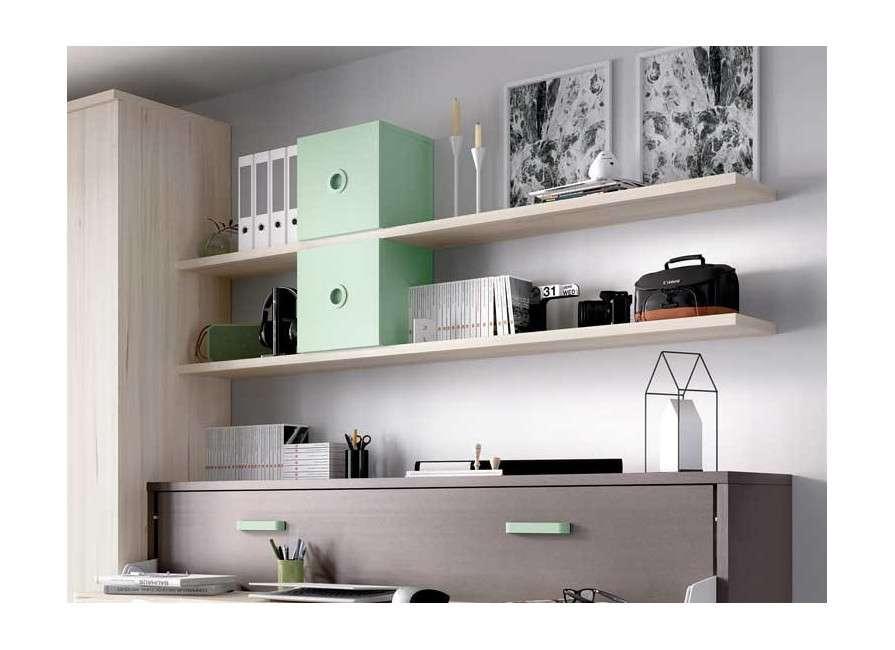 Habitación con mueble cama abatible individual