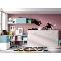Habitació amb moble llit abatible individual i escriptori
