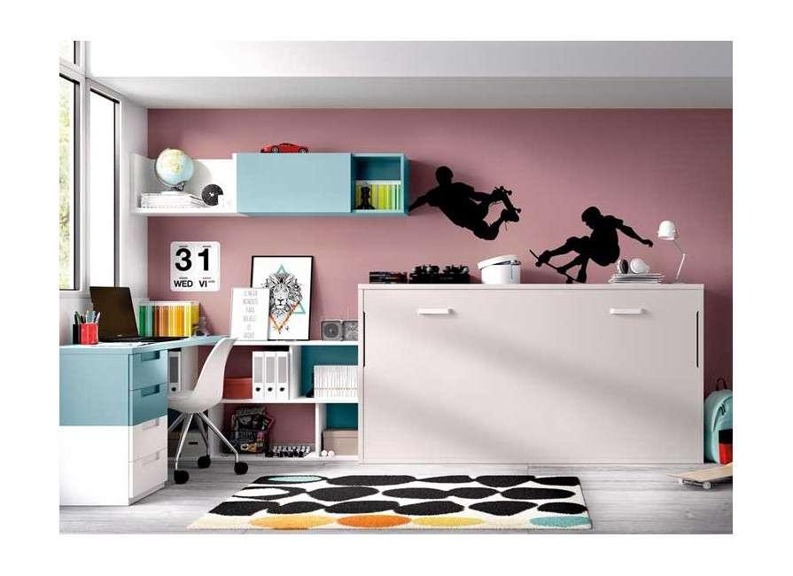 Habitación con mueble cama abatible individual y escritorio