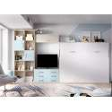 Dormitorio-comedor con armario y cama abatible