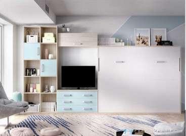 Dormitori-menjador amb armari i llit abatible