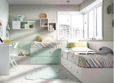 Conjunto juvenil con dos camas modulares en L