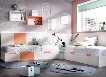 Habitación juvenil con dos camas modulares en L