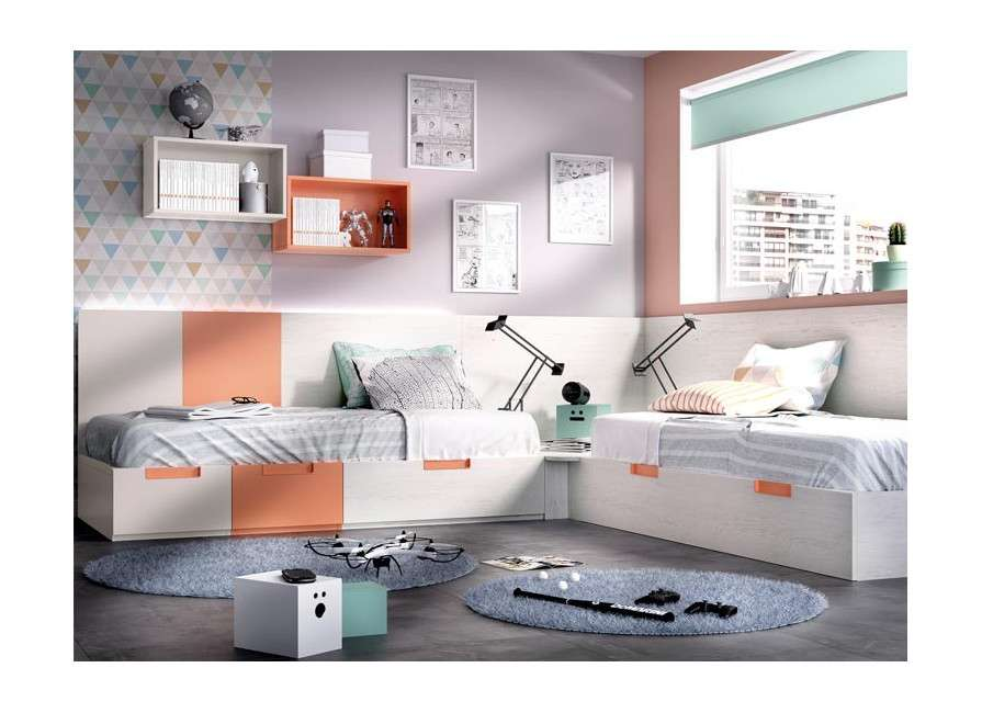 Habitació juvenil amb dos llits modulars en L