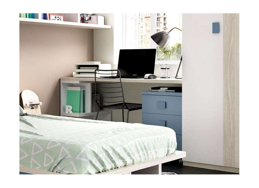Habitación  juvenil con cama individual de diseño
