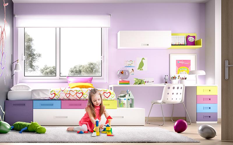 Habitación infantil con espacio para juegos