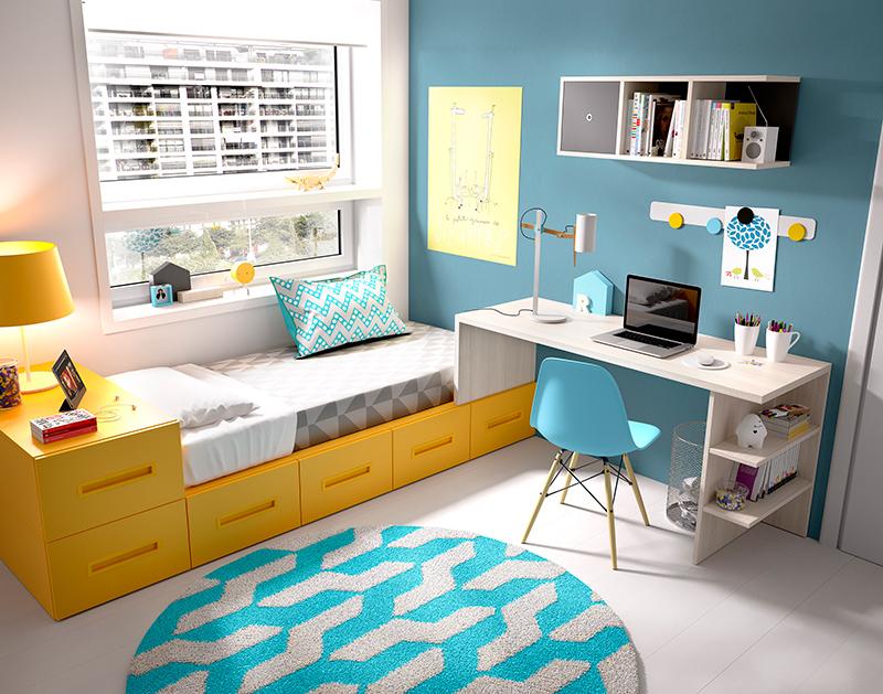 Habitación infantil de cama compacta con escritorio