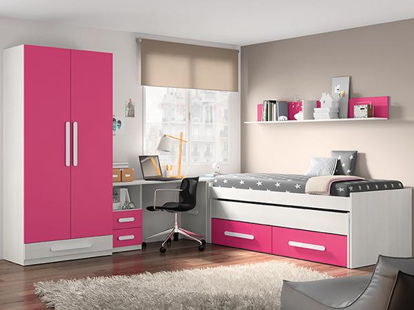 Habitación infantil blanca y rosa