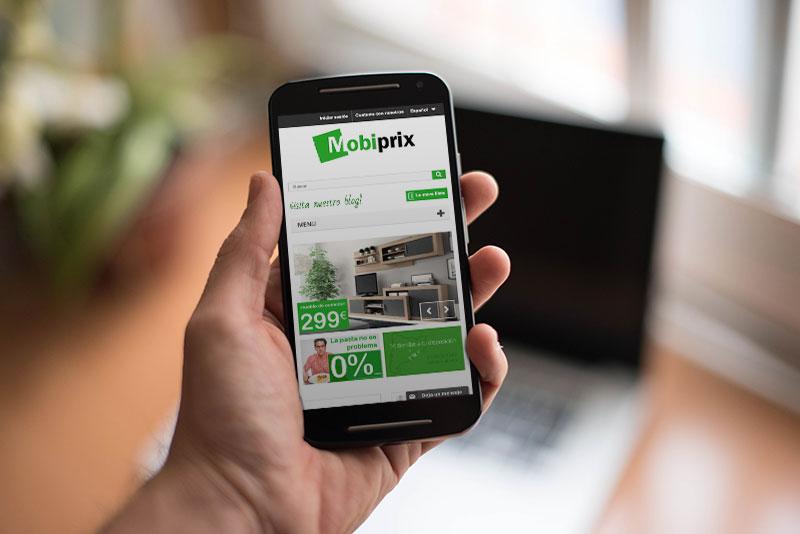 Nueva web de Mobiprix en versión móvil con descuento de 100€ incluido