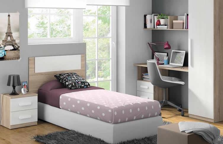 La fotografía muestra el dormitorio juvenil con cama individual modelo Mollet de Mobiprix