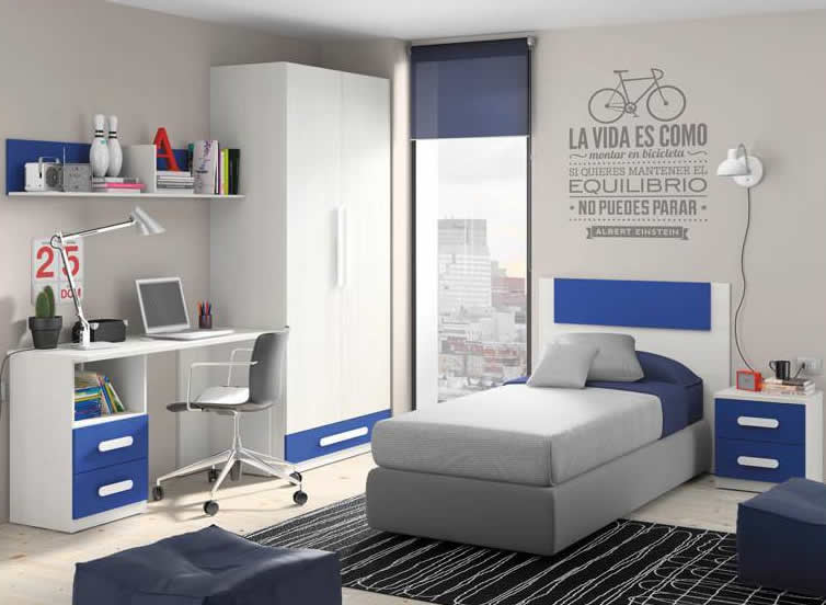 En la foto, habitación juvenil con cama individual modelo Granollers