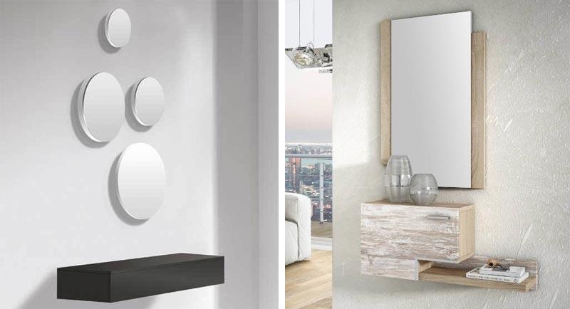 Los muebles peque;os con espejos llamativos son la mejor manera de decorar un recibidor peque;o o con poco espacio para amueblar.