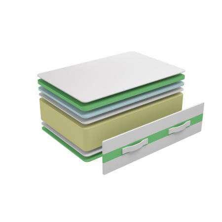 Colchón viscoelástico con espuma HR modelo Sabadell, vista transversal para ver la composición de las capas de espuma viscoelástica del colchón